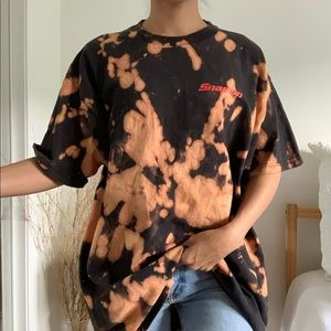 Snap-on Bleached Tie Dye Black T-Shirt